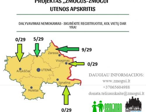 Kviečiame registruotis Utenos, Zarasų, Visagino, Ignalinos, Anykščių rajono gyventojus dalyvauti projekte