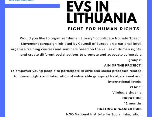 """Call for Applications of EVS project """"Future Society LAB 2″Kvietimas dalyvauti EVS projekte """"Ateities Visuomenė LAB 2"""""""
